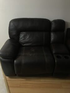 Electric leather recliner side