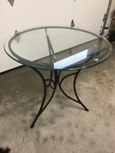 Glass top round table