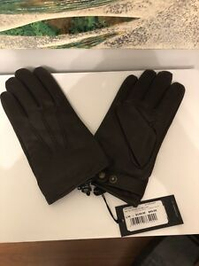 Ted Baker wool/ cashmere lined brown leather Gloves BNWT