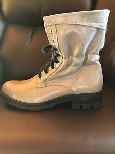 Grey Slouchy lace up leather boots