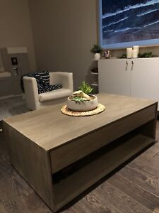 "NEW Crate and Barrel ""Ethan"" Wood coffee table"