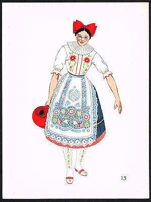 1930s Vintage Kalocsa Hungary Hungarian Woman's Clothing Pochoir Art Print