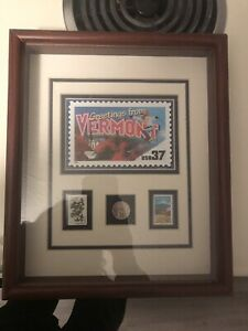 Greetings from Vermont coin/stamp framed