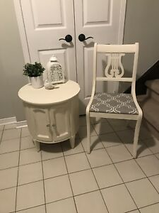 Solid wood shabby chic refinished drum table and vintage chair