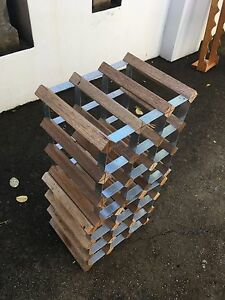Wood and metal wine rack - holds 18 bottles Strathfield Strathfield Area Preview