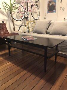 Mid century parker-eames modern coffee table vintage rattan teak