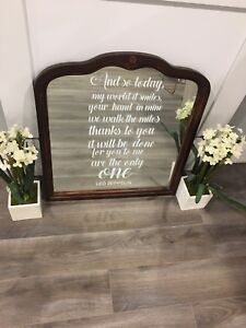 Vintage mirrors with quotes. Great for wedding showers