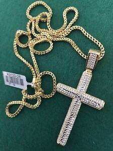 "28"" Franco Chain 10KT gold + Cross Pendant"