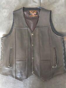 Men's brown leather vest