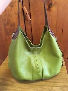 Roots Large Green Leather Brown Accents Hobo Purse Bag Green