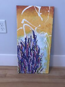 Painting on canvas of lupins