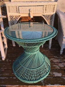 Boho Turquoise Rattan Glass Top Table Vintage Retro