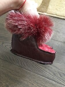Leather and fur toddler booties - size 12-18mo