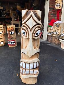 Chainsaw carved Tiki bar accent