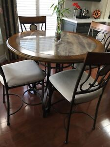 Raised kitchen table set and chairs.