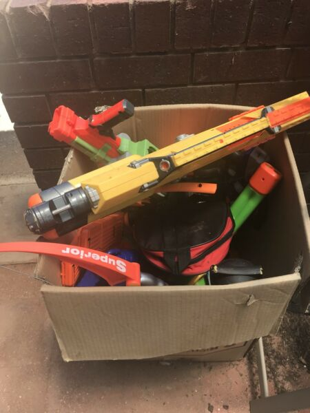 Lots of big and small nerf guns and bullets for sale