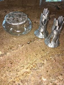 pewter and glass jar and candle sticks