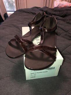 bf1eda3f2c44 Sambag flat sandals chocolate brown leather size 41 Brand new