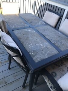 6 chair beautiful stone heavy duty table!