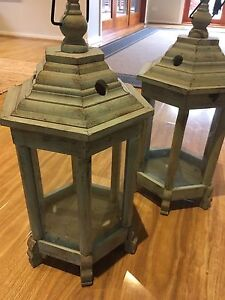 Pair of wooden and glass enclosed lanterns Cranbourne South Casey Area Preview