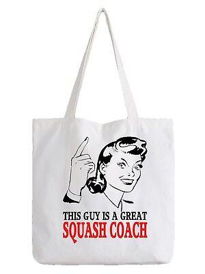 Squash Coach Tote Bag Shopper Best Gift Sport Racket Court Ball Play Hobby
