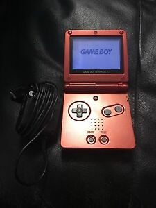 Red gameboy advance sp c/w charger