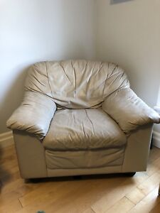 Super Comfy Beige Leather Chair