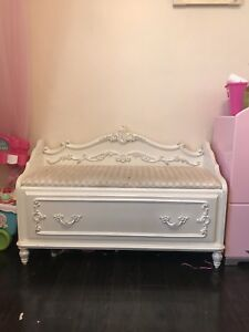 Antique Vintage Retro White Pink Girls Bedroom Storage Bench