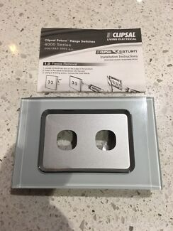 Clipsal Saturn Ocean Mist Grid & Cover Assembly 2 Gang Switch Plate