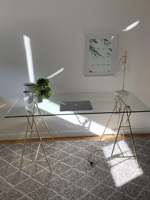 Freedom Modern Glass Trestle Desk Desks Gumtree