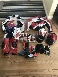 Racing leathers, coat, boots, helmets, gloves