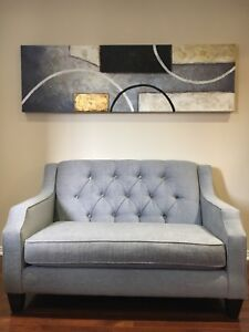 Grey Fabric STONE tufted Love Seat for Sale