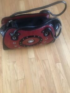 Backbone Faux Red and Black Leather Pet Carrier