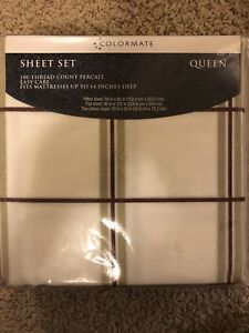 Brand new queen size plaid cotton sheet set