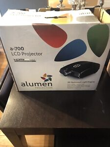 Projector with ceiling mount and pull down projector screen