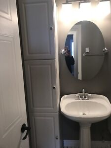 White Pedestal Sink, Toilet and Cabinet $200