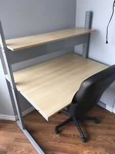 Desk, Office Chair and IKEA Lack Shelves