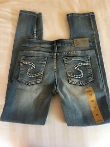 Girls size 10 silver jeans never worn