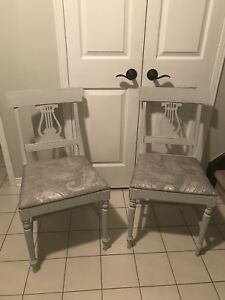 Solid wood refinished chairs and side table