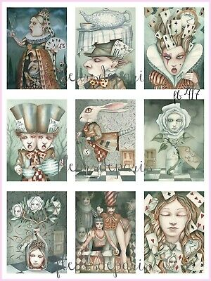 ~ Vintage Whimsical Alice in Wonderland Characters  9 Prints on Fabric FB 417 ~ - Characters In Alice In Wonderland