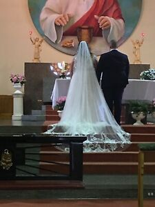 Wedding dress and veil