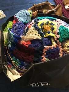 Granny squares and yarn