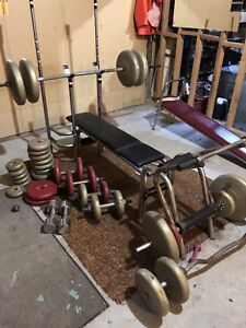 Work out bench, sit up bench and weights