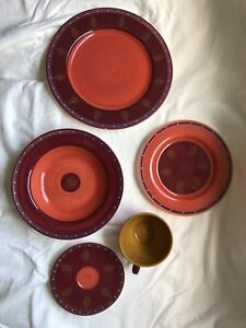 Madras pattern dishes