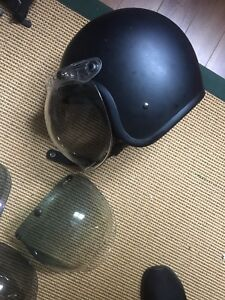 Biltwell helmet with visor and other accessories