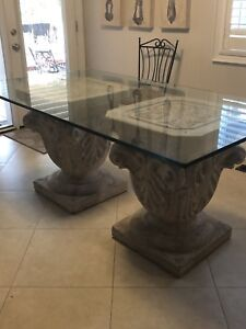Glass table and pedestal renovation sale