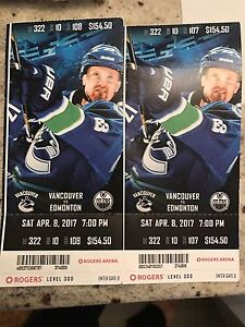 Canucks VS Oilers April 8 , 2017 pair tickets for $350