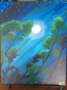 "16x20"" nighttime trees painting"