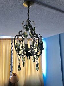 4 lights beaded chandelier with green crystals