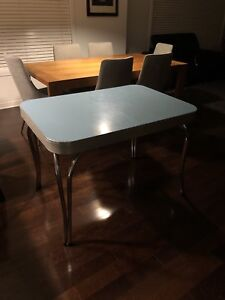 1950 -1960 dining table - chair turquoise